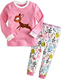 Kinder Maedchen Langarm zweiteilig Schlafanzug Pajamas 2pcs Set Mini Bambi S