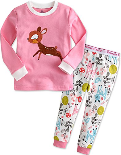 Kinder Maedchen Langarm zweiteilig Schlafanzug Pajamas 2pcs Set Mini Bambi ()
