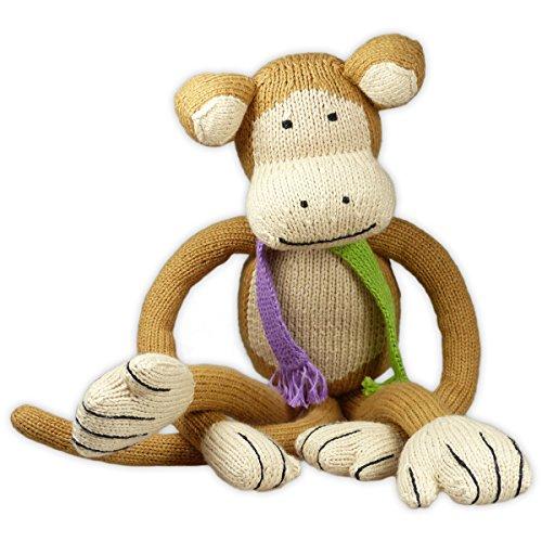 Mama Ocllo Kuscheltier, Schlenker-Affe mit Strick-Schal, 39cm, Orang-UTAN, Bio-Baumwolle, Fair Trade, Mädchen und Junge, Braun/Grün/Lila, Handmade in Peru