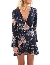 Reaso Femmes Col V Cru Manche longue Plage Floral Mini robe de Soirée