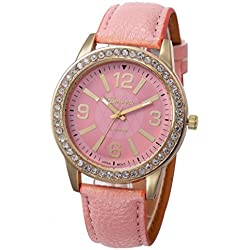 WINWINTOM Women Stainless Steel Analog Leather Quartz Wrist Watch Pink