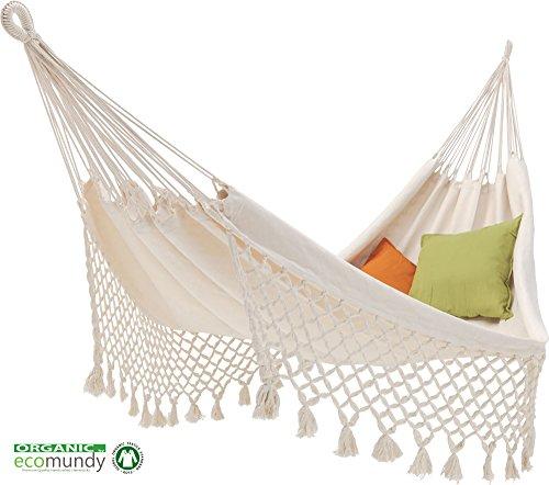 ECOMUNDY ROMANCE XL - Hamac classique avec frange de qualité supérieure, blanc, 100% coton bio, 160X260cm, max. 250 kg