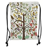PPOOia Drawstring Backpacks Bags,Animals,Retro Style Tree with Flowers Bugs and Bees Owl Birds Insects Vintage Decorative,Almond Green Eggshell Soft Satin,5 Liter Capacity,Adjustable STRI