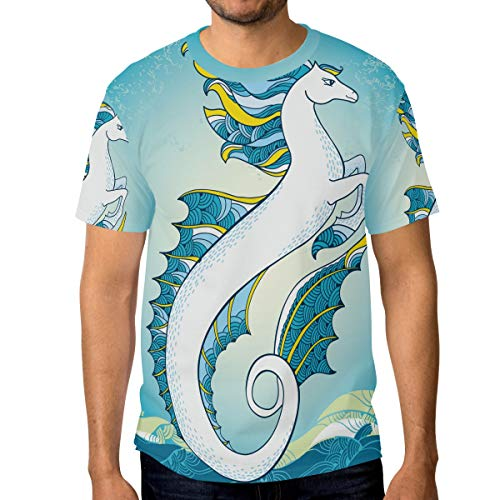 T-Shirt für Männer Jungen Zusammenfassung Ocean Seahorse Custom Short Sleeve (Ocean Tröster Set Königin)
