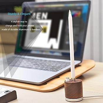 Samdi Holz Mini Ladegerät & Halterapple Pencil Charing Dock Stand Für Apple Ipad Pro Bleistift Ladegerät Dock Stehen (Schwarze Walnuss) 2