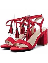 Borlas de mujer de verano, sandalias, Suede, eólico nacional de la mujer, los zapatos de tacón alto, sandalias, grandes patios,gules,42