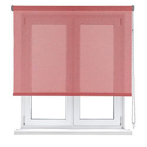 Estor Enrollable Screen/Color Plata Y Rojo/Apertura 10% / ACCIONAMIENTO A Cadena 75 X 250
