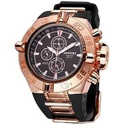 SHHORS Big Dial 3Small Decoration Dial Fashion Herren Armbanduhr Quarz mit Silikon Band (Black + Rose Gold)
