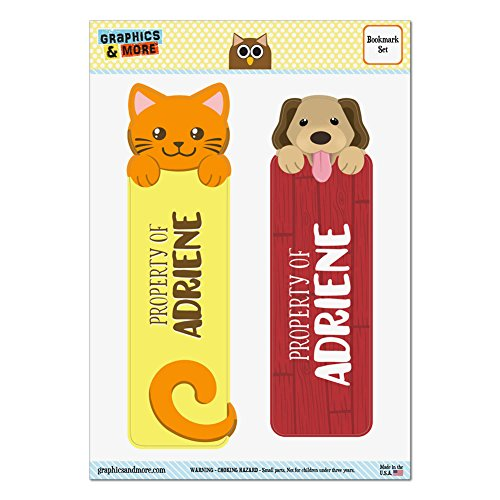 Set von 2glanzfolienkaschiert Cat und Dog Lesezeichen–Namen weiblich aa-ai Adriene