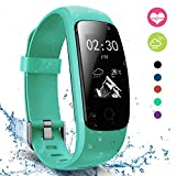Fitness Tracker with Heart Rate Monitor, moreFit Touch HR Waterproof Activity Tracker Wearable Smart Wristband Pedometer, Teal