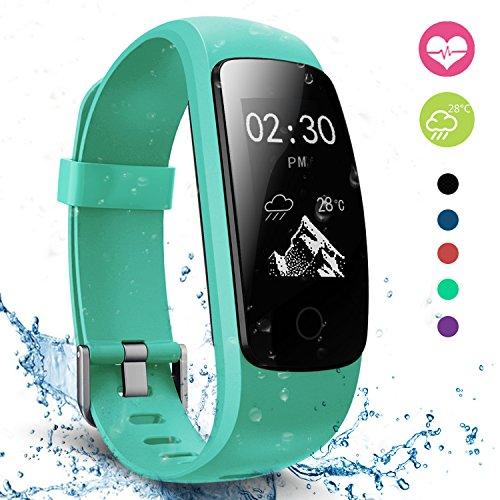 moreFit Slim Touch Wasserdicht Fitness Tracker Mit Herzfrequenz,Smart Fitness Armbanduhr Pulsuhr Schrittzähler,Bluetooth Schwimmen Activity Tracker Gps Für Damen/Herren,Grün