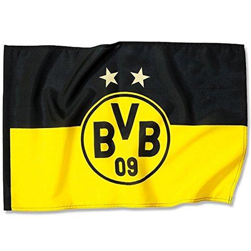 Borussia Dortmund BVB 14134200 Stockfahne 120x80cm mit Logo, Schwarz/gelb, 120 x 120 x 1 cm