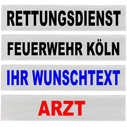 PACO Deutschland e.K. Reflexschild Rückenschild silber reflektierend mit Wunschtext 38x8cm, 42x8cm, 30x5cm Wunschtext individuell wie RETTUNGSDIENST FEUERWEHR NOTARZT etc. (42x8cm)