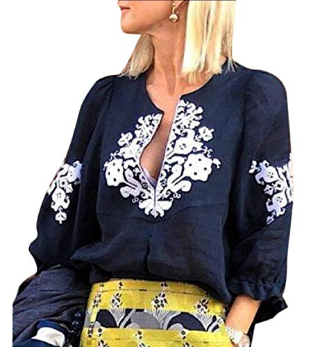 CuteRose Women Ethnic Style Tees 3/4 Sleeve Printed Linen T-Shirt Blouse Navy Blue M