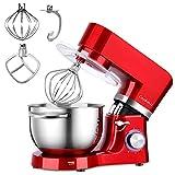 Cookmii Küchenmaschine 1500W Hohe Energie Knetmaschine 5.5 Liter-Rührschüssel, 6-stufige Geschwindigkeit Teigmaschine (Rot)