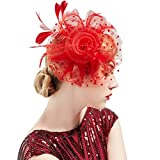 ArtiDeco Fascinators Hut Damen Cocktail Party Fascinator Haarreif Englische Tee Party Accessoires (Rot)