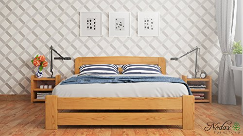 "New Super King Size Solid Wooden Bed Frame ""F1"" with slats and extra four supportive legs (6ft, alder)"