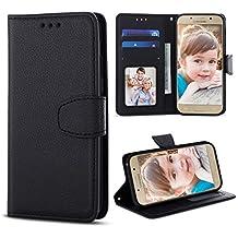 Coque Luxe Samsung Galaxy A5 [5.2 Pouce],XY-shell™ Étui Housse en Cuiravec Magnetique[Portefeuille Etui ] [ Premium Flip Case] Housse de Protection Case pour Samsung Galaxy A5 2017.[Noir]
