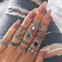 Women's 15 Pcs Ring Set Retro Stylish Hollow Floral Design Ring Suit, Women Bohemian Vintage Stack Rings (Silver)