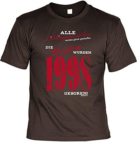 Jahrgangs-Shirt / Spaß-Shirt : Alle Lieblingsmenschen werden gleich geschaffen. Die Besten wurden 1998 geboren!! Braun