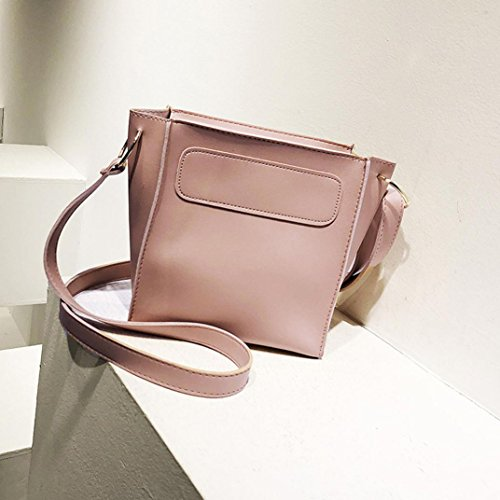Longra Borsa a tracolla con tacco a tracolla con borsa a tracolla a tracolla semplice in pelle PU moda donna Rosa