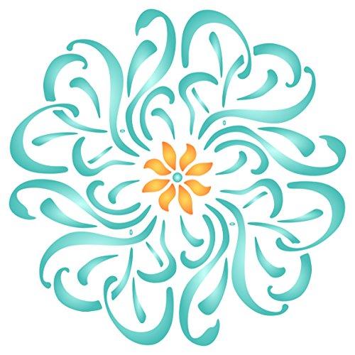Blumen Mandala Schablone, wiederverwendbar, Blumen Flora Pflanzen-Floral-Vorlage, auf Papier Projekte Scrapbook Bullet Tagebuch Wände Böden Stoff Möbel Glas Holz usw. Größe S