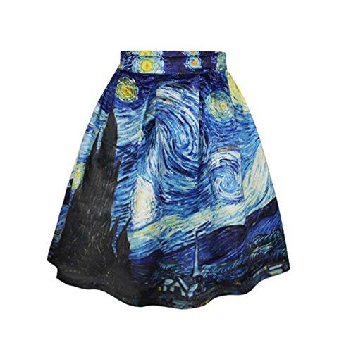 Donne ragazze abiti bella stampato in forma sottile Overknee Whirlpool a pieghe gonna Midiskirt (Vortex, S/M)