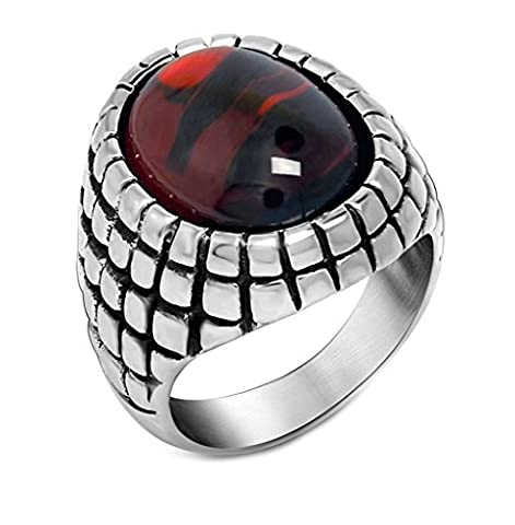 Men's Stainless Steel Ring Onyxs Retro Vintage Ruby Band Ring Silver Size V 1/2