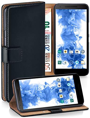 moex Booklet mit Flip Funktion [360 Grad Voll-Schutz] für LG Google Nexus 5X | Geldfach und Kartenfach + Stand-Funktion und Magnet-Verschluss, Schwarz