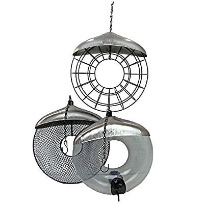 Garden Mile® Deluxe Hanging Donut Suet Fat Ball Bird Feeder. Garden Bird Feeders Seed Feeder Peanut Feeder Easy Clean and Fill by Garden Mile®
