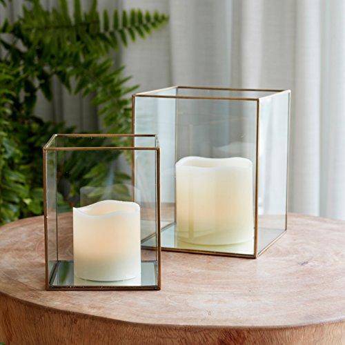 Lights4fun 2er Set LED Glas Terrarium mit Kerzen zum Herausnehmen - Messing-glas Kerze