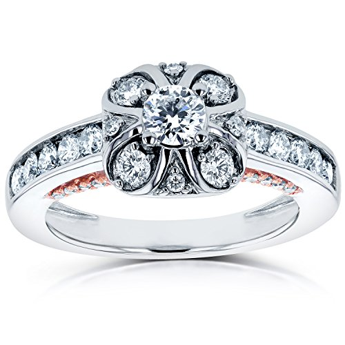 Anello di fidanzamento, stile Vintage, con 3% 2F4 CTW in 14 K Two-Tone Gold, Oro rosa-e-bianco, 13,5, cod. 62149R-E_7.0