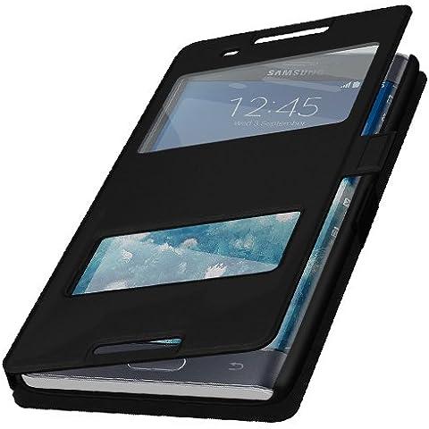 Q1–Funda con tapa para teléfono móvil con cierre magnético + Protector de pantalla gratis, producto de la marca, plástico, negro, Samsung Galaxy J5