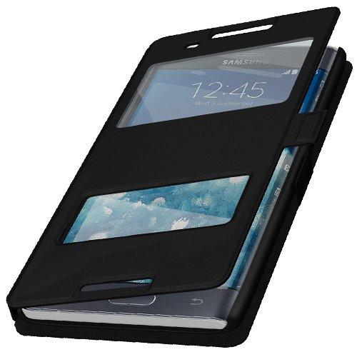 Flip Cover Handytasche Tasche Sony Xperia M5 Schwarz Bookstyle Case Wallet Etui Magnettasche + Gratis Displayschutzfolie Panzerfolie Original q1® Markenware