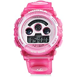 Leopard Shop HOSKA H001B Children Sports Wristwatch LED Digital Watch Day Chronograph Water Resistance Pink