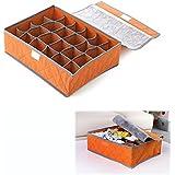 24 rejilla desmontable bambú ropa interior ordenado práctico del carbón de leña caja calcetines organizador Shorts cajón armario de almacenamiento bolsa naranja