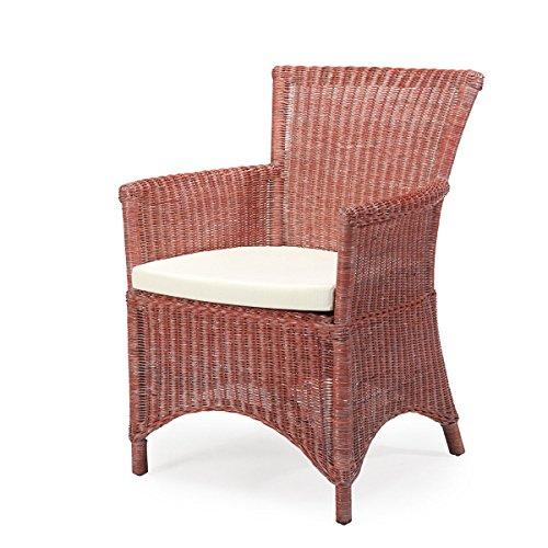 Rattan-Sessel ROSAS - Rattan - Vintage - inkl. Sitzkissen - Rot