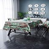 ISWW Retro-Stil kreative Simulation Holzmaserung grüne Farbe Tischdecke Tischdecke Druck Baumwolle Leinen Tischdecke Hintergrund Tuch A 140x260cm