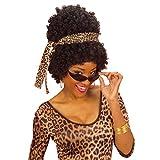 Afrikanerin Perücke mit Leopardenstirnband und Brille Hippie Afroperücke braun Wuschel Haarperücke Party Lockenperücke Jimmy Damenperücke Lockenkopf Faschingsperücke Locken Haare Fasching Kostüm Zubehör