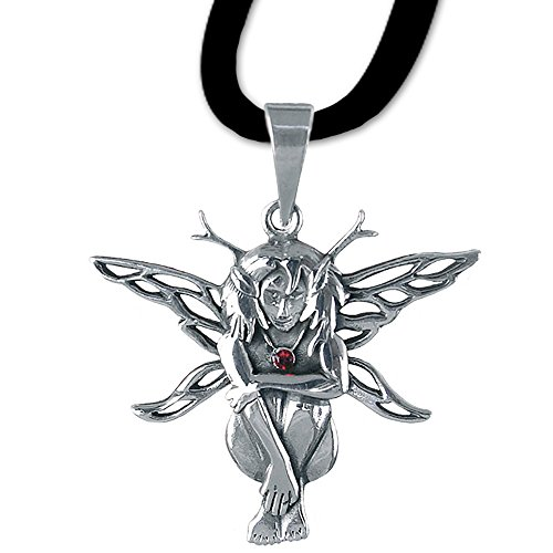 Waldelfe Anhänger Amulett Talisman 925er Silber Schmuck mit Lederhalsband Schmucksäckchen und Karte - Motivation - Elfenanhänger 01