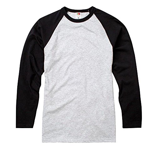Fruit of the Loom - Kontrast Langarmshirt 'Longsleeve Baseball T' / Heather Grey/Black, XL
