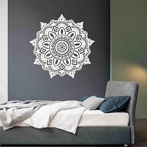 Pegatina para pared Igemy, diseño hindú floral de mandala, blanco