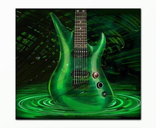 SENSATIONSPREIS-Bild-auf-Leinwand-modern-Art-Design-greenguitar-80x90cm-Kunstdruck-auf-Rahmen-mit-Bilder-Motiv-Musik-Gitarre-grn-abstrakt-modern--Schnppchen-ideal-als-Geschenk-fr-Familie-Freunde-Schne