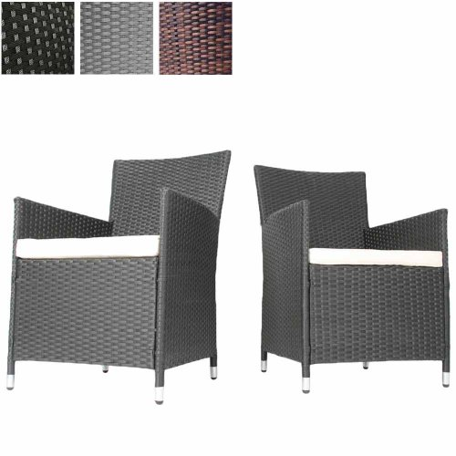 Miadomodo Set of 2 Polyrattan Chairs with Seat Cushions ...