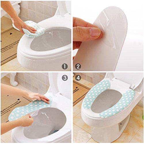 OUNONA WC-Sitze Covers Pads ticky Badezimmer-Wärmer Waschbar Gesundheit Fit für jede Art von Toilette für Reisen und zu Hause, 2 Paar Mode-Druck (farbig sortiert)