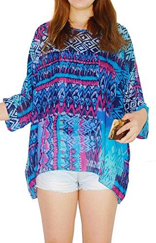 Oksakady Frauen Lose T-Shirt Chiffon Batwing Ärmel Bluse Plus Size Tunika BOHO-6003