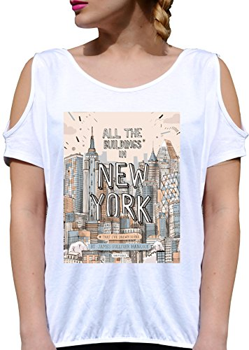 T SHIRT JODE GIRL GGG27 Z0241 NEW YORK CITY AMERICA PENCIL DRAW FASHION COOL BIANCA - WHITE