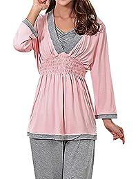Flora Damen Schwangerschafts Still-Pyjama Volle Ärmel Verdecktes Detail Rüschen Taille