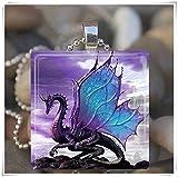 Halskette mit Drachenanhänger aus Glas, märchenhaftes Design, lilafarben