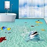 Rureng Benutzerdefinierte Wandbild Tapete 3D Meer Strand Delphin 3D Boden Malerei Fliesen Aufkleber Pvc Selbstklebende Wasserdichte Badezimmer Wand Papier 3 D